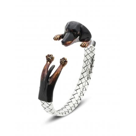 Dog-Fever-Hunderinge-enamelled-hug-bracelet-dachshund