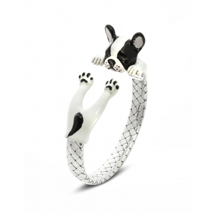 Dog-Fever-Hunderinge-enamelled-hug-bracelet-french-bulldog